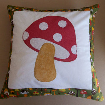 Mushroom Pillow - Red and Green Toadstool Hippie Cushion