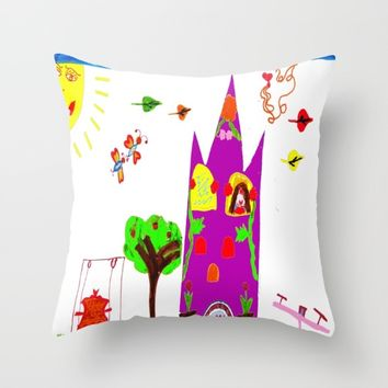 Playground Castle Throw Pillow by Azima