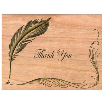 Wood Folding Card Quill Thank You Card
