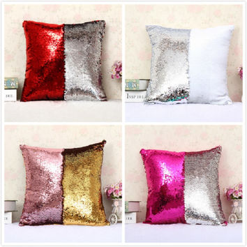Reversible Sequin Mermaid Sequin Pillow Magical Color Changing Throw Pillow Cover Sofa Decor Cushion Cover Decorative Pillowcase