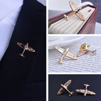 2 pcs/pair Aircraft brooches men gold color  suit Brooch man lapel pins wedding PIN BADGE Brooch Pins Collar Men's Suit Dressup