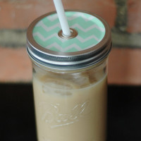 Mint Chevron Mason Jar Tumbler