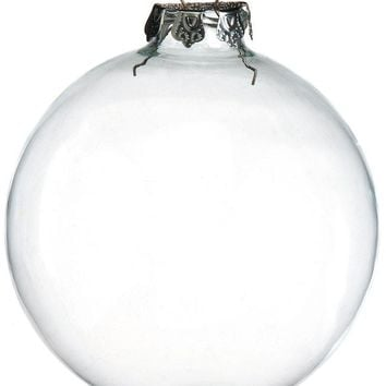 Promotion - DIY Paintable Clear Christmas Ornament Decoration 100mm Glass Ball With Silver Top, 4/Pack