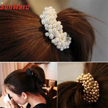 Wonderful 1PC Fashion Korean Women Pearls Beads Hair Band Rope Scrunchie Ponytail Holder Sep 14Jan 20