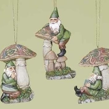 6 Christmas Ornaments - Irish Celtic Gnome And Mushroom