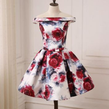 Off the Shoulder Floral Print Cocktail Dresses Lace-up Back A-line Mini Length Prom Party Gowns