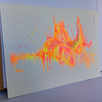 "50%OFF Abstract ORIGINAL Watercolor Painting Castle Art Painting Neon colors 13""X9.7"" inches"