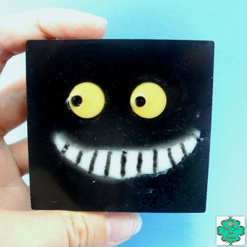 Cheshire Cat Soap Bar - Alice in Wonderland Soap, Spooky Soap, Wonderland Bath, Handcarved Soap