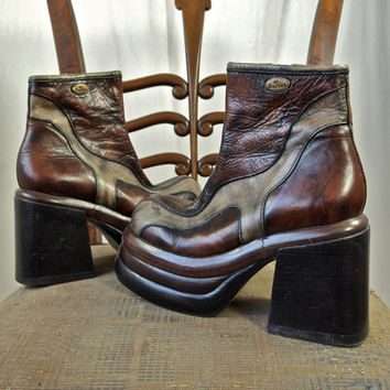 80's Platform Shoes Brown and Tan Kid or Ostrich Patchwork Leather Disco Ankle Boots El Dantes Made in Spain Size E35 C36