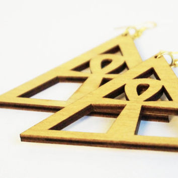 NEW!! Earrings wood: Roots Ankh, Symbol of Eternal Life, Egypt symbol,the Key of Life, Lasercut birch plywood, gold colored hooks, topcoated