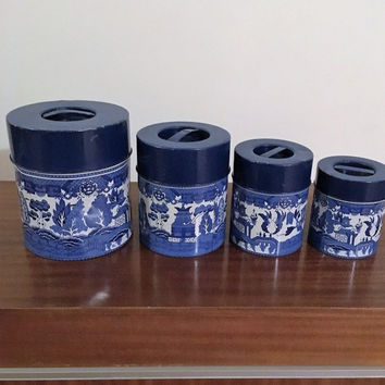 Vintage 1960s Set of Four (4) Blue Willow Metal Kitchen Canisters / Retro Tin Kitchen Storage / Made by MC in Japan