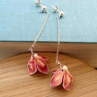 Sterling silver earrings  Magnolia flower  Long by lunahoo on Etsy