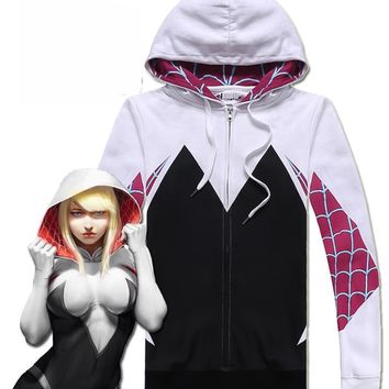 Free Ship Spider-Man:Homecoming Gwen Hoodie Coat Stacy Cosplay Costume for Halloween Costume for Women Female Spiderman Sweater