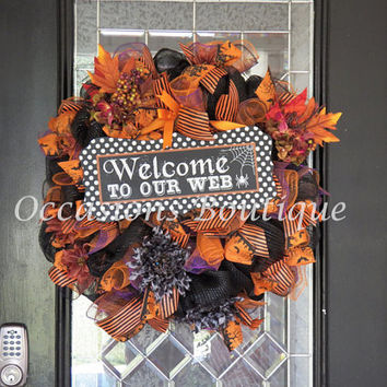 Halloween Wreath, Door Hanger, Halloween Party Decoration, Front door Wreaths, Wreath for door, Fall Wreath, Ready to Ship