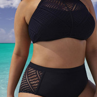 Plus Size L-6XL Women Sexy High Waist Lace Bikinis Black Solid Swimwear Hollow out Swimsuit Bathing Suit