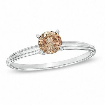 1/4 CT. Champagne Diamond Solitaire Engagement Ring in 14K White Gold