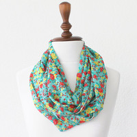 Infinity Scarf - Loop Scarf - Circle Scarf - Brown Scarf - Cotton scarf Cowl Scarf with Mini Flowers