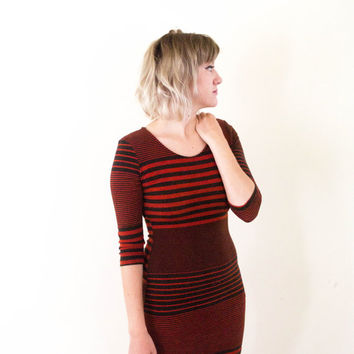 vtg 90's striped knit bodycon dress, casual stripes 3/4 sleeve mini dress, 1990s ironic tumblr soft grunge, vaporwave, urban outfitters
