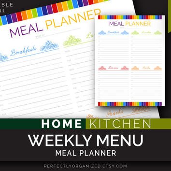 Weekly Menu, Meal Planner, days of the week, Week Menu, Kitchen Printable Planner, DIY Colorful Binder Organizer || Household PDF Printables