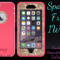 "OtterBox Defender Series Case for 5.5"" iPhone 6 Plus - Custom Glitter Case for 5.5"" iPhone 6 Plus - Pink/Gold"