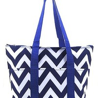 Chevron Print Insulated Thermal Lined Lunch Tote Bag Zig Zag (Blue)