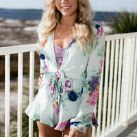 Mint Julep Floral Knotted Romper