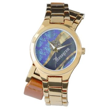 Blue and gold ornate damask watch