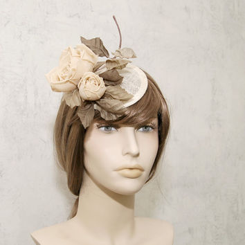 Handmade pale yellow flower sinamay fascinator