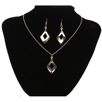 Long Drop Dangle Earring and Necklace Set for Women