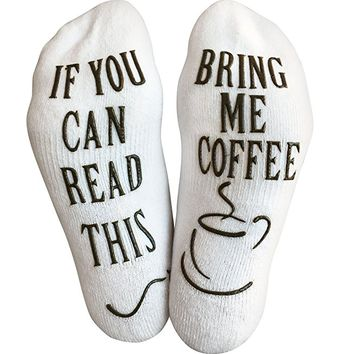 "Luxury Cotton ""Bring Me Coffee"" Funny Socks - Perfect Secret Santa Present, Gag Gift or Novelty Christmas Gift Idea for Men and Women - Best White Elephant Gift Idea For Coffee Lover"