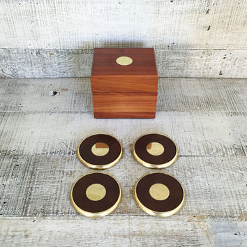 Coasters in Wooden Box Hollywood Regency Coasters Man Cave Coasters Brass and Leather Coasters Set of 4 Coasters Mid Century Gift for Him