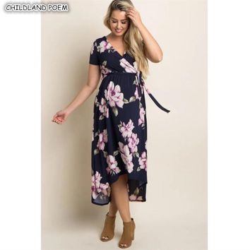Maternity Dresses Summer Maternity Clothes Floral Elegant V-Neck Pregnancy Dress Cotton Women Nursing Breastfeeding  Dress