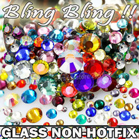 Nail Art Cystals Mix Sizes Colors Glass Non Hot Fix Flat Back Rhinestone SS3 SS4 SS5 SS6 SS8 SS10 SS12 SS16 SS20 SS30 Glitters