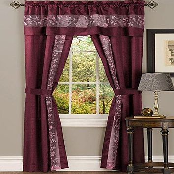Ben&Jonah Collection Fairfield 5 Piece Window Curtain Set - 55x84 - Burgundy