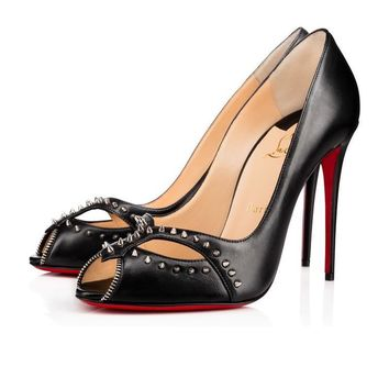 Christian Louboutin Fashion Rivets Pointed Heels Shoes