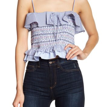 English Factory | Sleeveless Ruffle Smocked Top | Nordstrom Rack