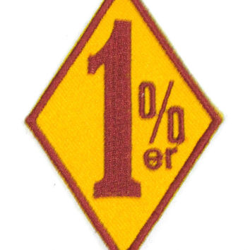 1%ER  diamond Brown on yellow Iron on Small Badge Patch for Motorcycle Biker Vest