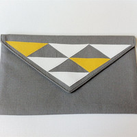 Geometric Linen Envelope Clutch