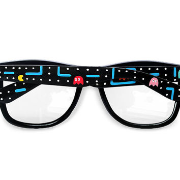 Pac-man glasses - Custom Wayfarer clear lens glasses Pacman unique hand painted