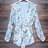 boho chic soft floral romper with slit sleeves - sky
