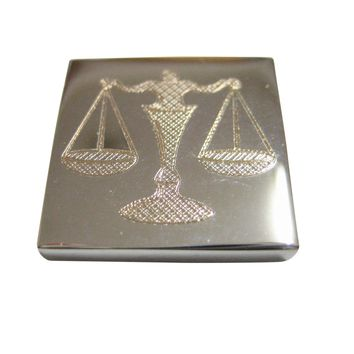 Silver Toned Etched Scale of Justice Magnet
