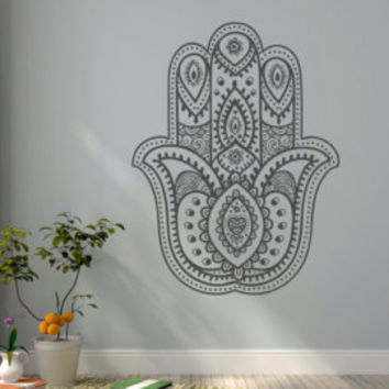 Hamsa Hand Eye Wall Decal- Namaste Wall Decal- Yoga Wall Decal Indian Buddha Boho Bohemian Bedroom Decor Yoga Studio Meditation Wall Art #11
