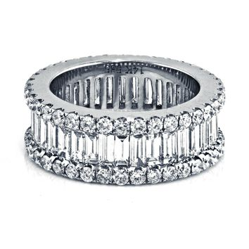 4.6ct Channel Pavé Diamonds 14K White Gold 8mm Wide Eternity Band Ring