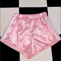 SWEET LORD O'MIGHTY! SILK KITTEN SHORTS IN POWDER PINK