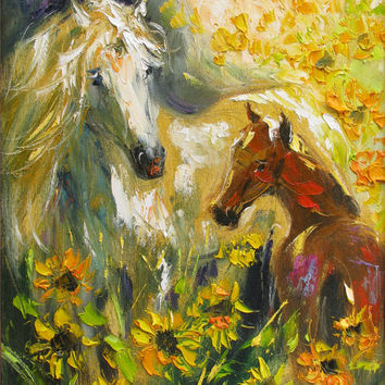"Horses in sunflowers, giclee canvas print of original oil painting, fine art print,8""x10"""