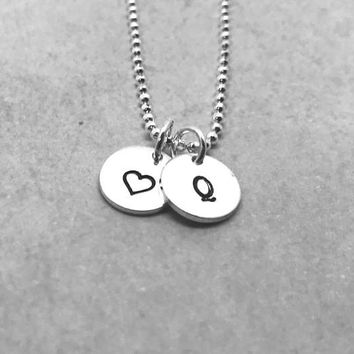Q Initial Necklace with Heart, Sterling Silver, Letter Q Necklace, Hand Stamped Jewelry, All Letters Available, Gifts for Her