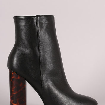 Tortoise Shell Chunky Heel Ankle Boots
