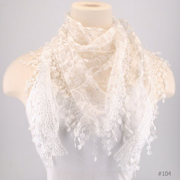 White Lace Fichu Metallic Silver Roses Scarf Shawl Cowl Triangle Sheer Fashion Lightweight Women Accessories by Creations by Terra