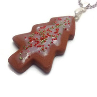 Christmas Tree Pendant, Cookie Pendant, Mini Food Jewelry, Christmas Gift Ideas
