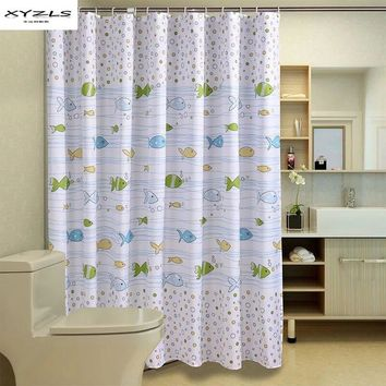 XYZLS Cartoon Fishes Printed Bathroom Curtain Waterproof Moldproof Polyester Shower Curtain Bathroom Products